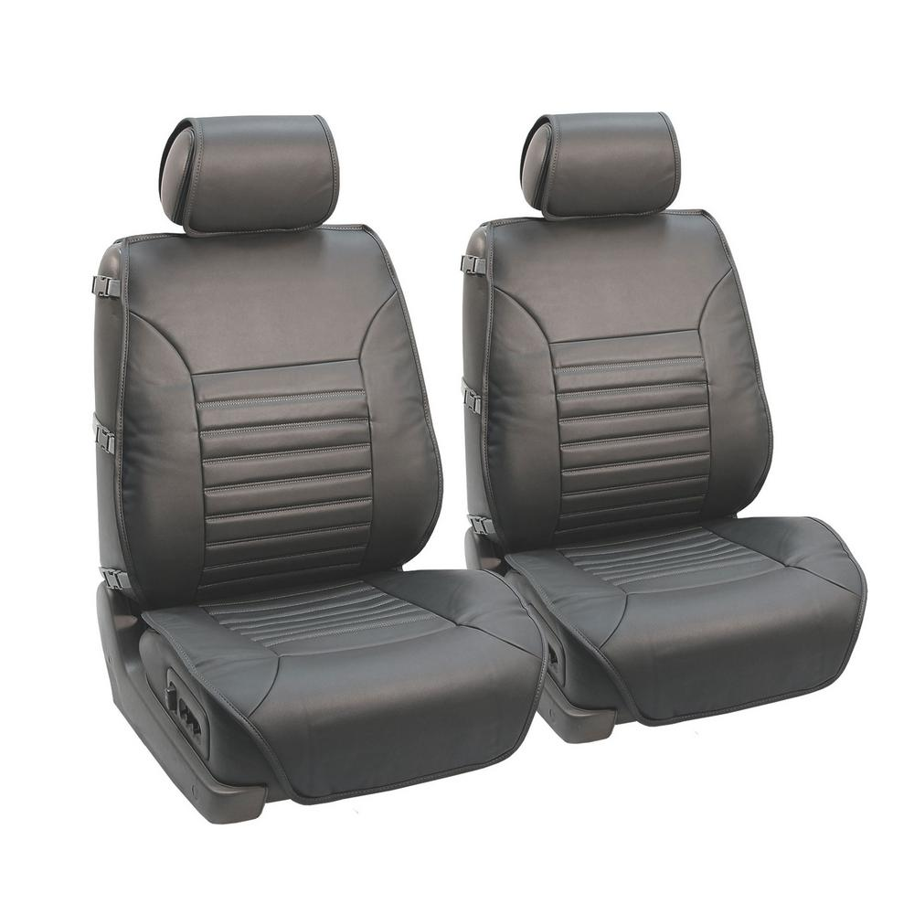 FH Group PU Leather 47 in. x 23 in. x 1 in. Multi-Functional Quilted Front Seat Cushions