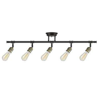 Rennes 38.97 in. 5-Light Oil Rubbed Bronze Track Lighting Kit, Bulbs Included