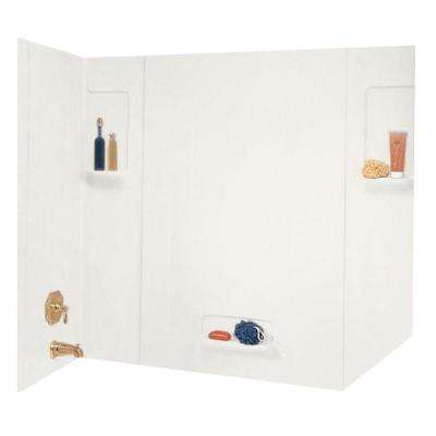 32 in. x 62 in. x 58 in. 5-Piece Easy Up Adhesive Tub Wall in Bisque