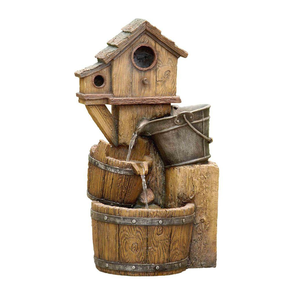 Zest Avenue Bird House Outdoor Water Fountain without Light