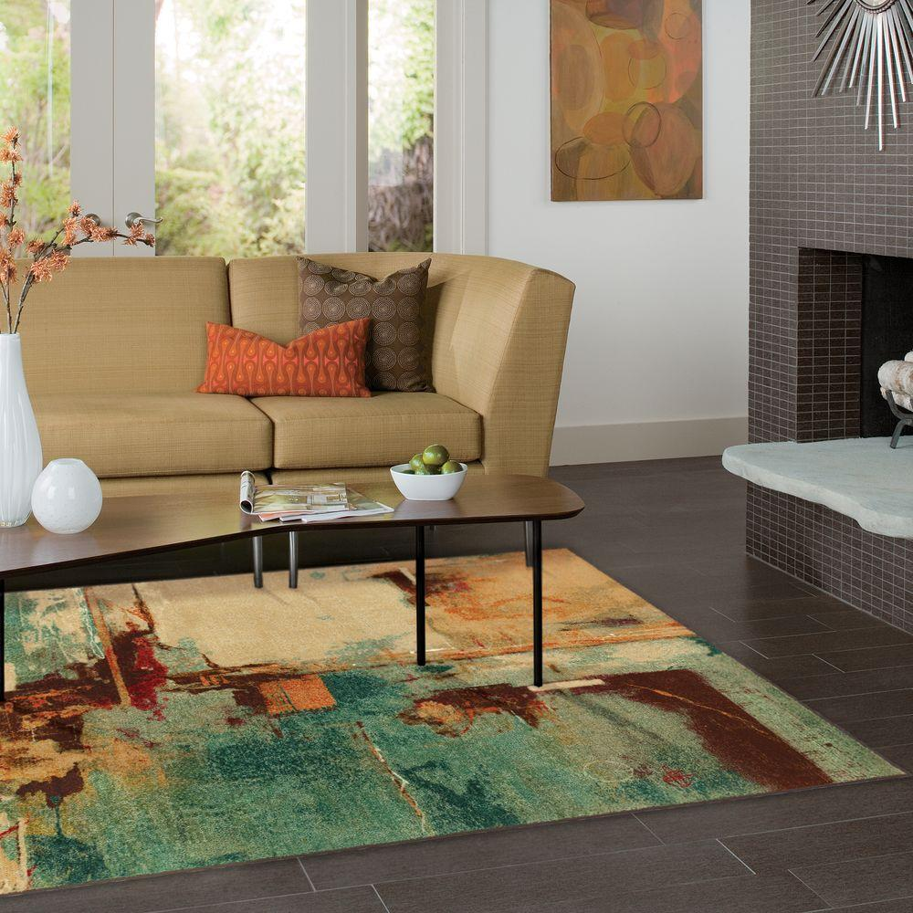 Mohawk Home Select Strata Aqua Fusion 5 Ft X 8 Indoor Area Rug