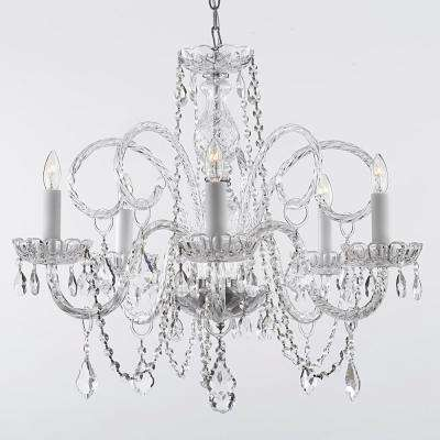 Plug in chandeliers lighting the home depot empress 5 light crystal plug in chandelier aloadofball Images