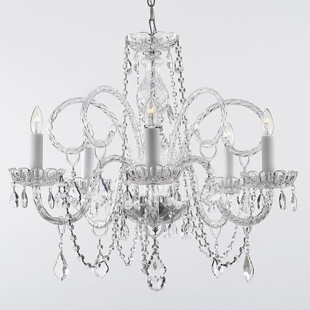 Venetian 5 Light Swarovski Crystal Trimmed Plug In Chandelier