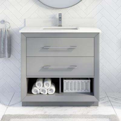 Rio II 36 in. W x 22 in. D Bath Vanity in Gray ENGRD Stone Vanity Top in White with White Basin with Power Bar-Organizer