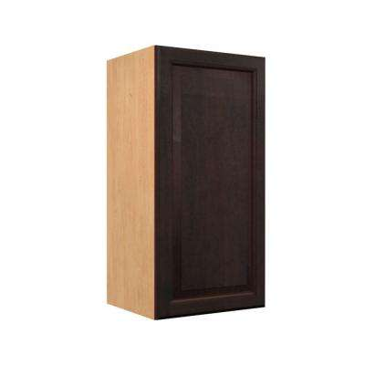 Ready to Assemble 18x38x12 in. Ancona Wall Cabinet with 1 Soft Close Doors in Mocha