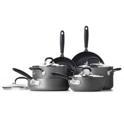 Good Grips 10-Piece Hard-Anodized Aluminum Nonstick Cookware Set in Gray
