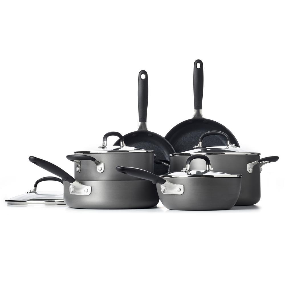 Good Grips 10-Piece Hard-Anodized Aluminum Nonstick Cookware Set in Gray