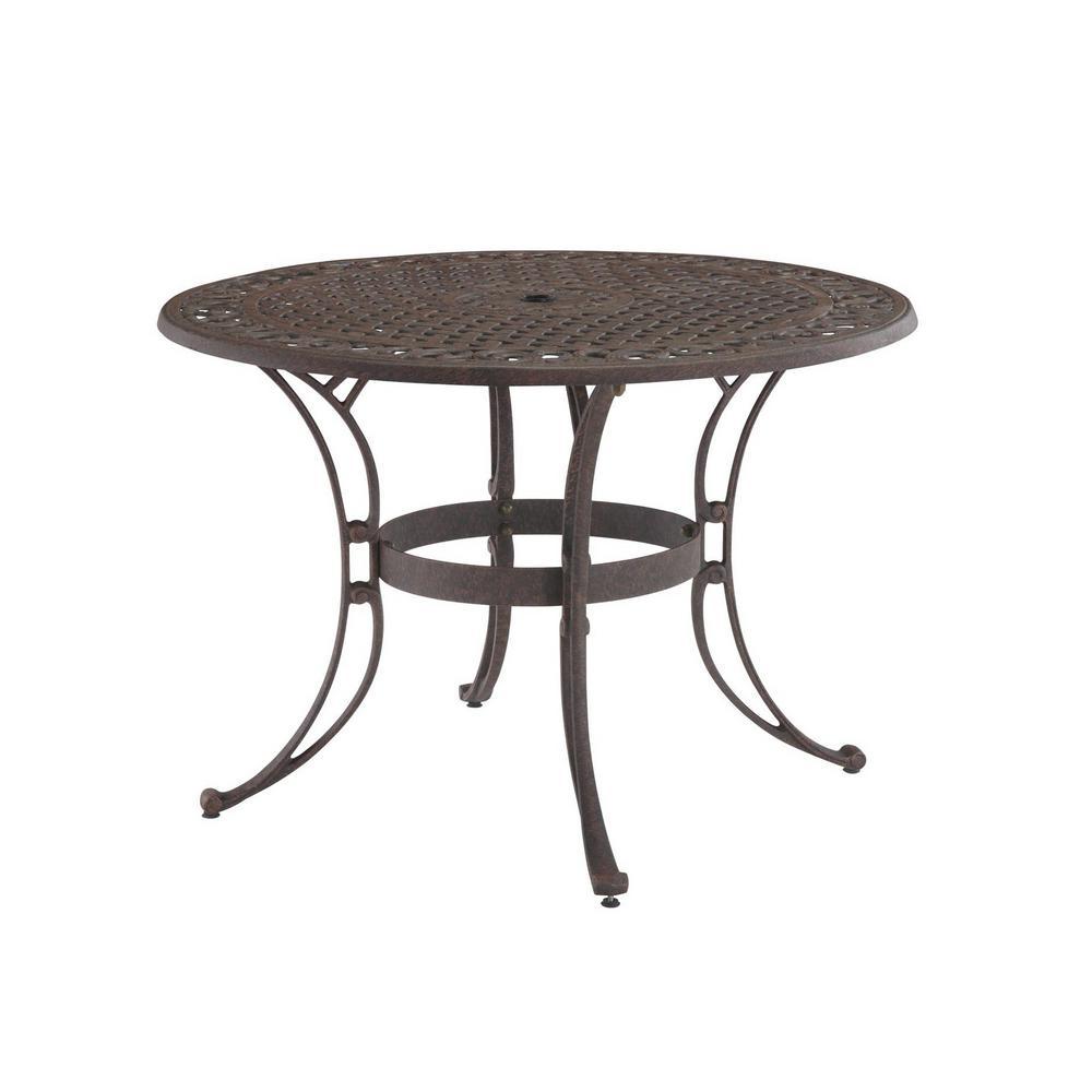 Sanibel 48 in. Rust Bronze Round Cast Aluminum Outdoor Dining Table