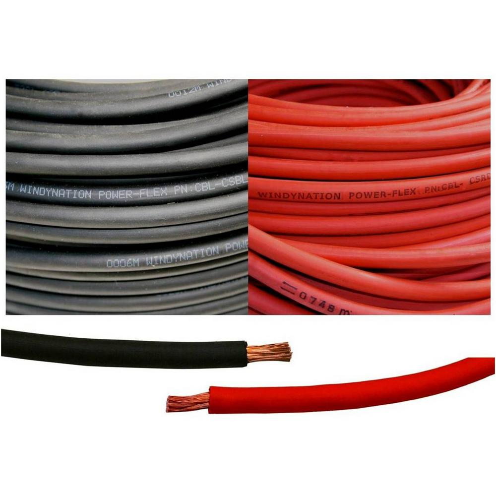 Windynation 4 Gauge 10 Ft Black And Red 20 Total Cable Wiring For New Home