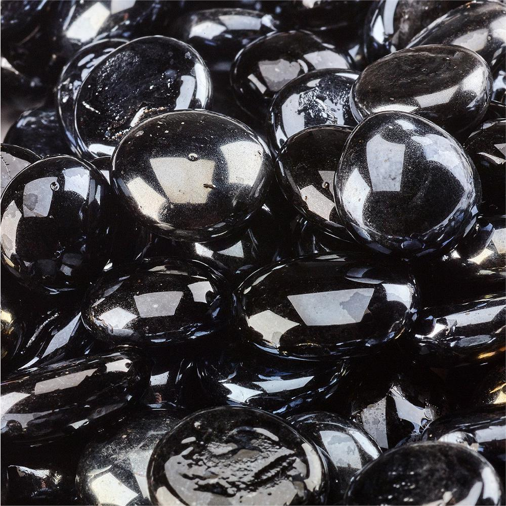 10 lbs. of Midnight Black 1/2 in. Semi Reflective Fire Glass