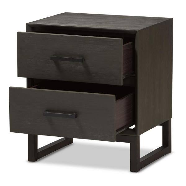 Baxton Studio Parris 2-Drawer Grey and Black Nightstand 28862-7637-HD