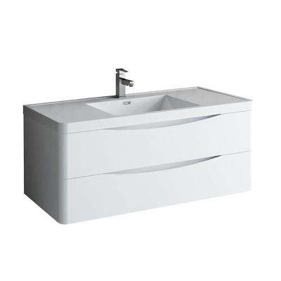 Tuscany 48 in. Modern Wall Hung Vanity in Glossy White with Vanity Top in White with White Basin