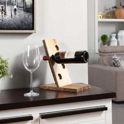 Floating Wooden 4 Bottle Wine Holder with Bark