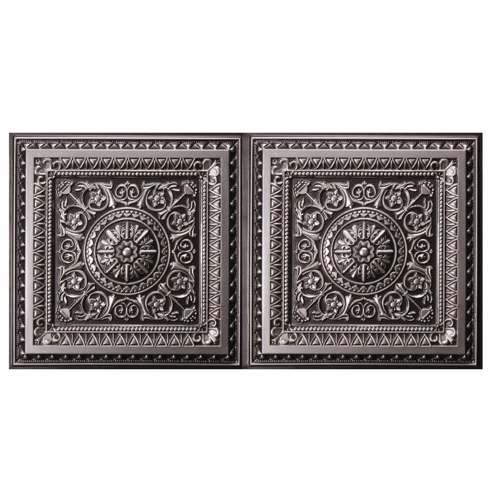 Udecor Marseille 2 Ft X 4 Ft Lay In Or Glue Up Ceiling Tile In Antique Silver 80 Sq Ft Case