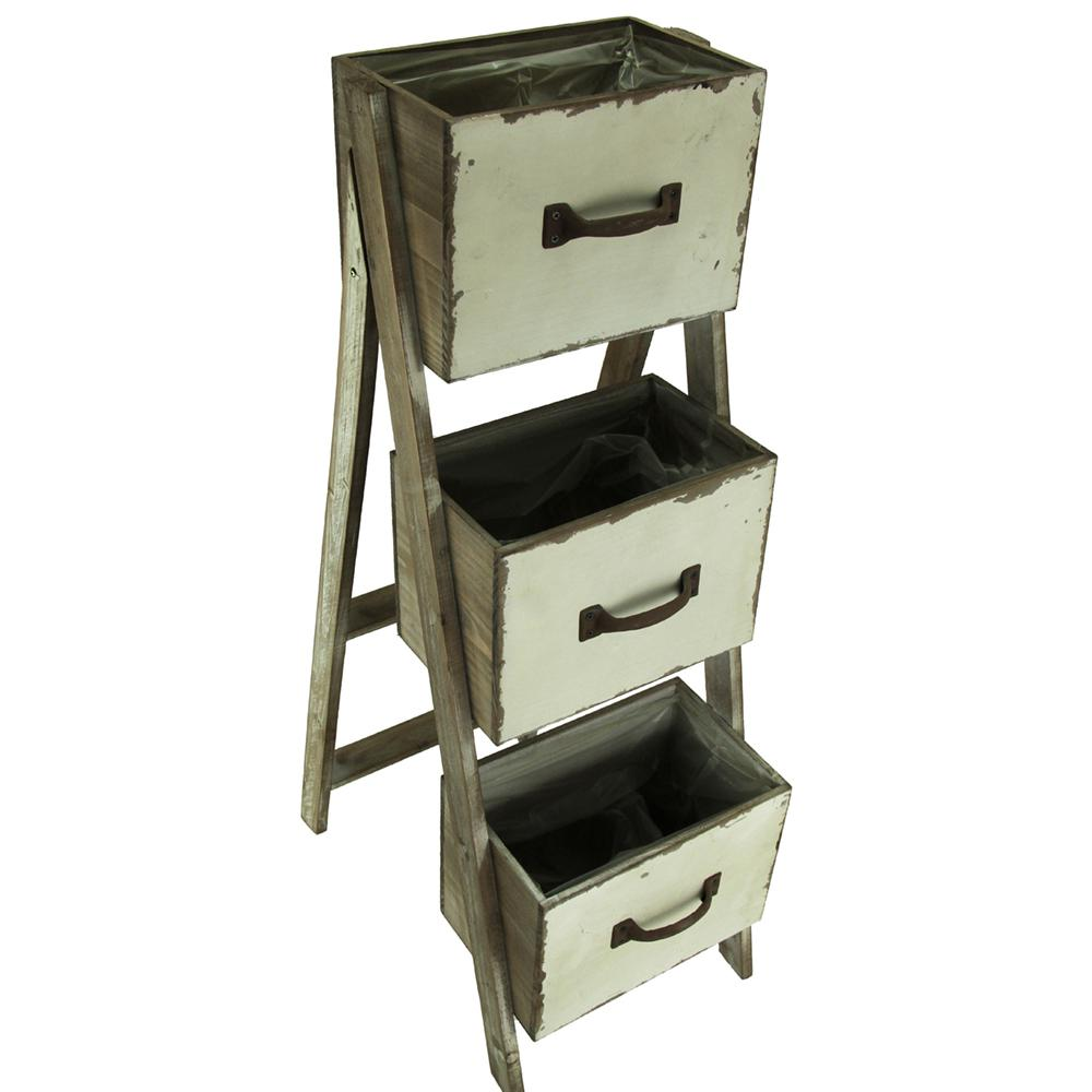 Rustic 3-Tier Folding Wood Drawer Planter Stand