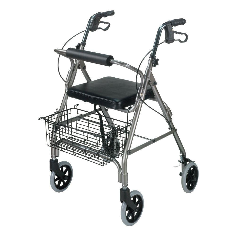 DMI Ultra Lightweight Rollator in Aluminum Ultra Lightweight Aluminum Rollator has an adjustable handle height. The rollator has a flip-up cushion seat. Rollator has a 2-position storage basket. This rollator conveniently folds for storage.