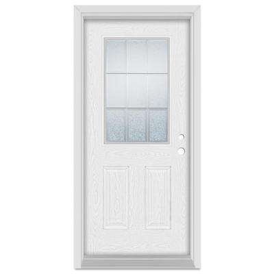 37.375 in. x 83 in. Geometric Left-Hand 1/2 Lite Zinc Finished Fiberglass Oak Woodgrain Prehung Front Door Brickmould