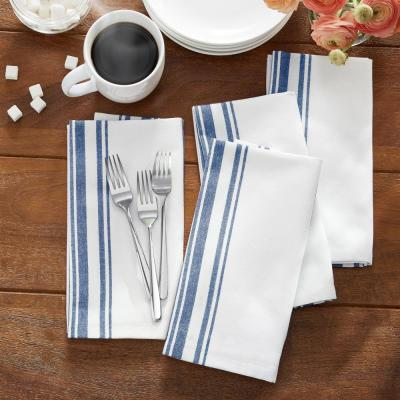 Farmhouse Living Homestead Stripe 20 in. x 20 in. Blue/White Napkins (4-Pack)