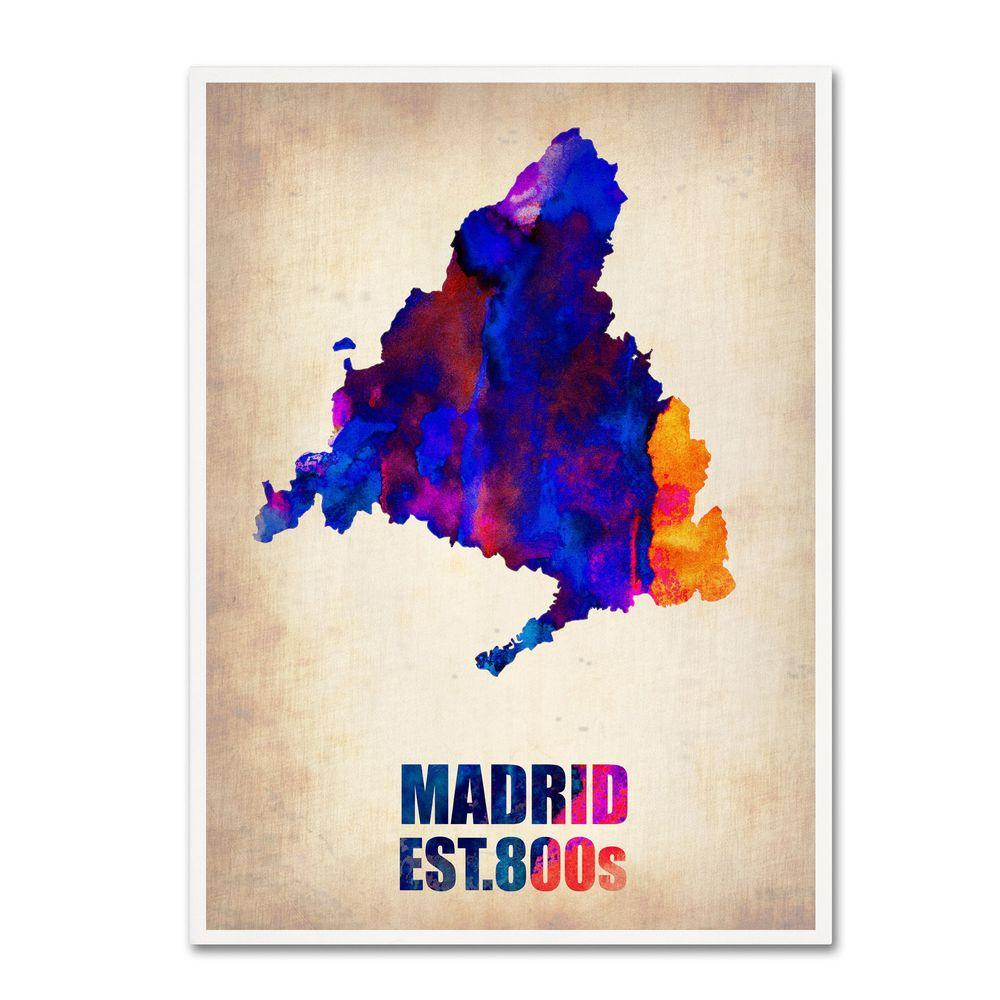 19 in. x 14 in. Madrid Watercolor Map Canvas Art