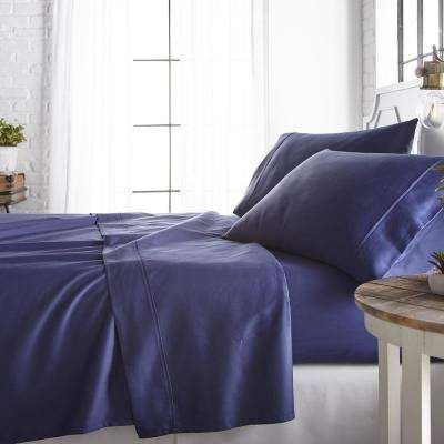 4-Piece Navy 800 Thread Count Cotton Rich King Bed Sheet Set
