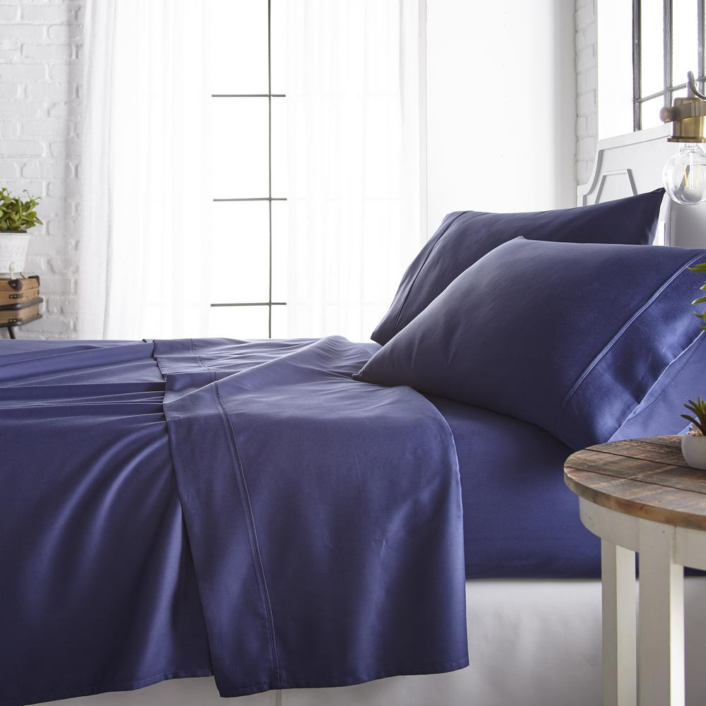 Becky Cameron 4 Piece Navy 800 Thread Count Cotton Rich Twin Bed Sheet Set