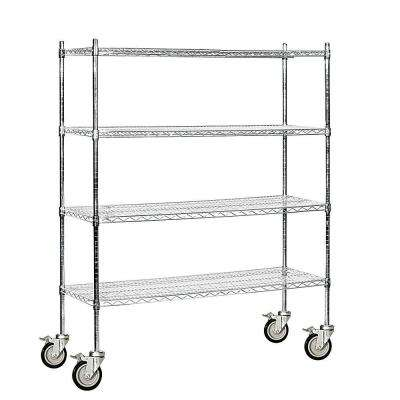 60 in. W x 69 in. H x 18 in. D Industrial Grade Welded Wire Mobile Wire Shelving in Chrome