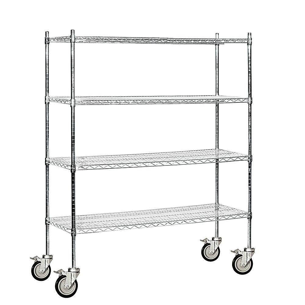 Salsbury Industries 9500M Series 60 in. W x 69 in. H x 18 in. D Industrial Grade Welded Wire Mobile Wire Shelving in Chrome