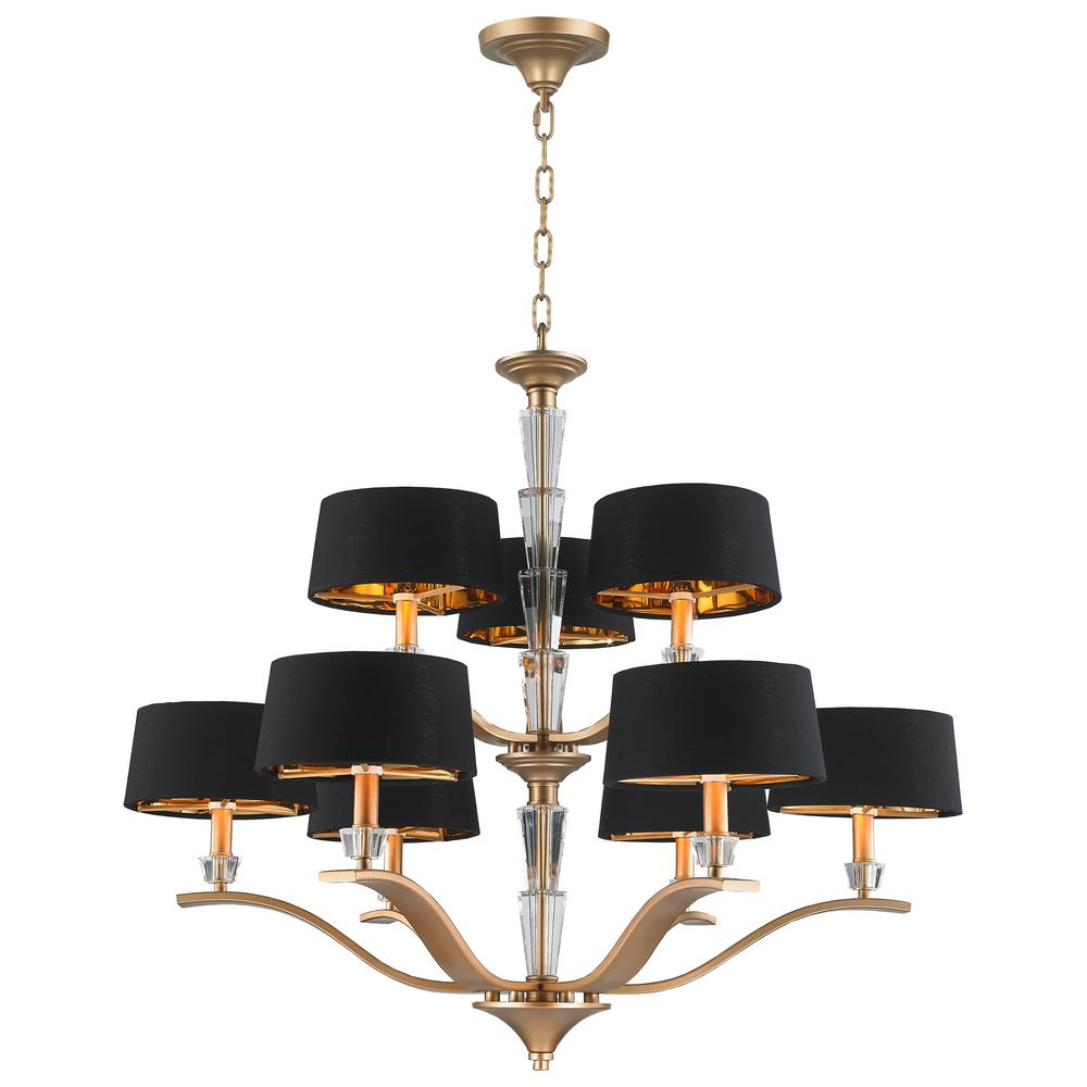 Worldwide Lighting Gatsby 9 Light Matte Gold Chandelier With Black Drum Shade