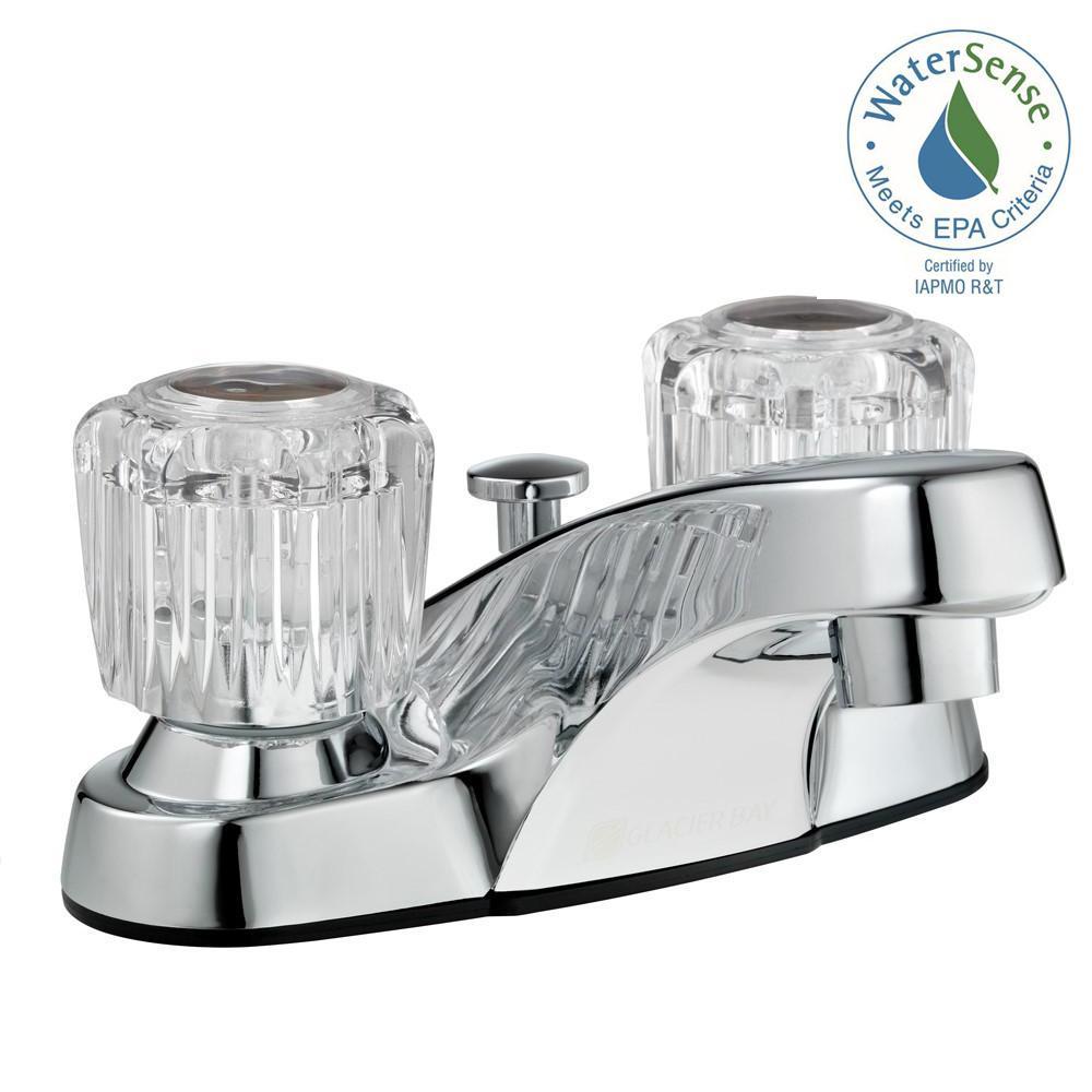 Glacier Bay Aragon 4 inch Centerset 2-Handle Low-Arc Bathroom Faucet with Pop-Up Drain in Chrome by Glacier Bay