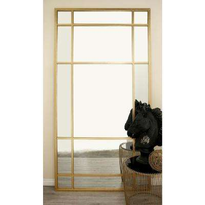 80 in. x 40 in. Modern Wall Mirror with Gold-Framed Panels