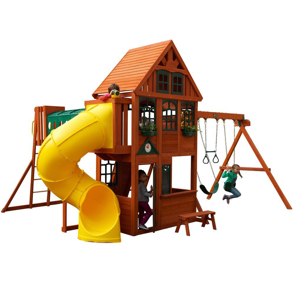 KidKraft Cedar Grove Manor Wooden Swing Set