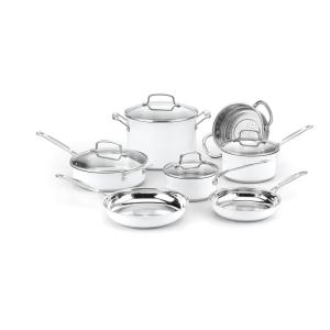 Cuisinart Chef's Classic 11-Piece Metallic White Cookware Set with Lids by Cuisinart