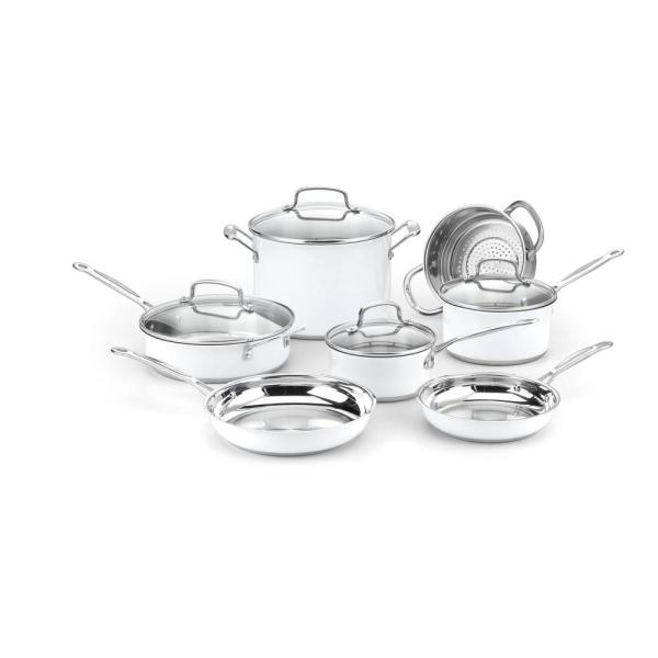 Cuisinart Chef's Classic 11-Piece Metallic White Cookware Set with Lids
