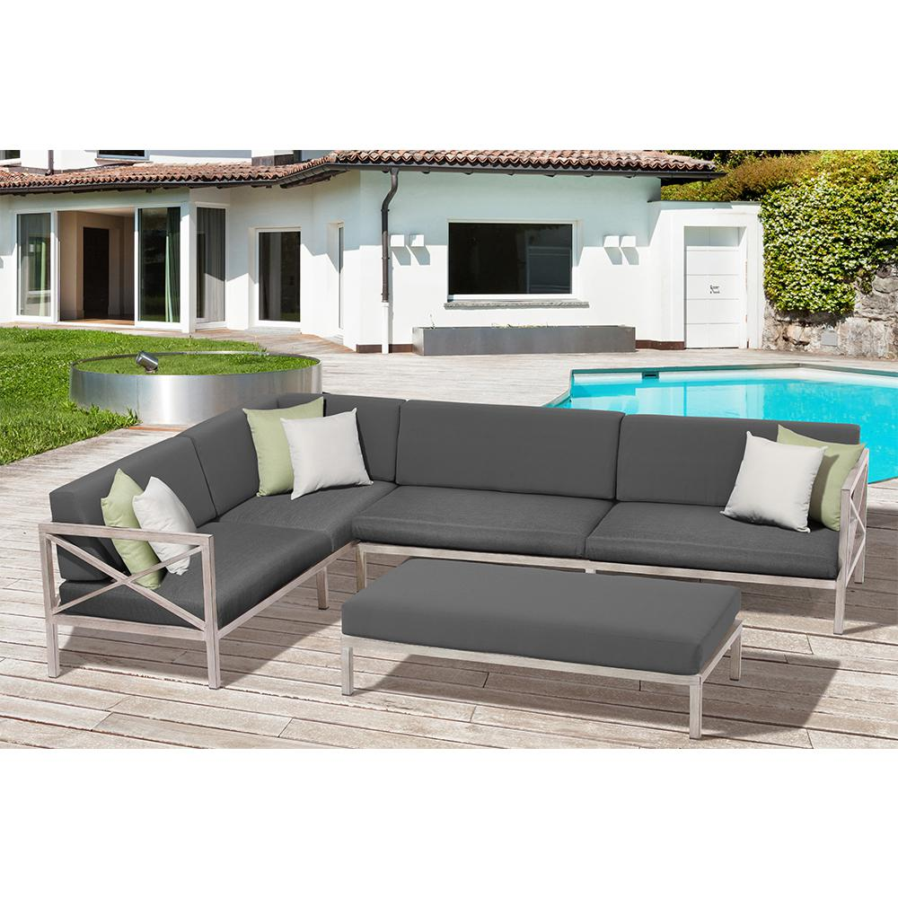 Ove Decors Pasadena 3 Piece Aluminum Frame Patio Sectional Set With White And Light Green
