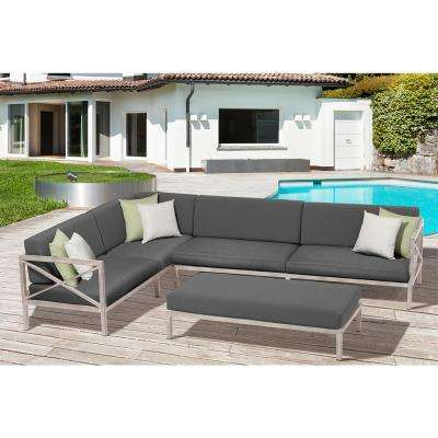 Pasadena 3-Piece Aluminum Frame Patio Sectional Set with White and Light  Green Cushions - Rustic - OVE Decors - Weather Resistant - Outdoor Lounge Furniture