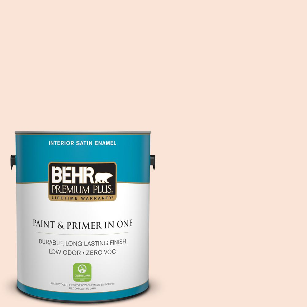 BEHR Premium Plus 1 gal. #210A-1 Cool Cream Satin Enamel Zero VOC Interior Paint and Primer in One