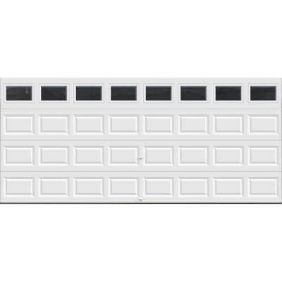 Classic Collection 16 ft. x 7 ft. Non-Insulated White Garage Door with Plain Windows