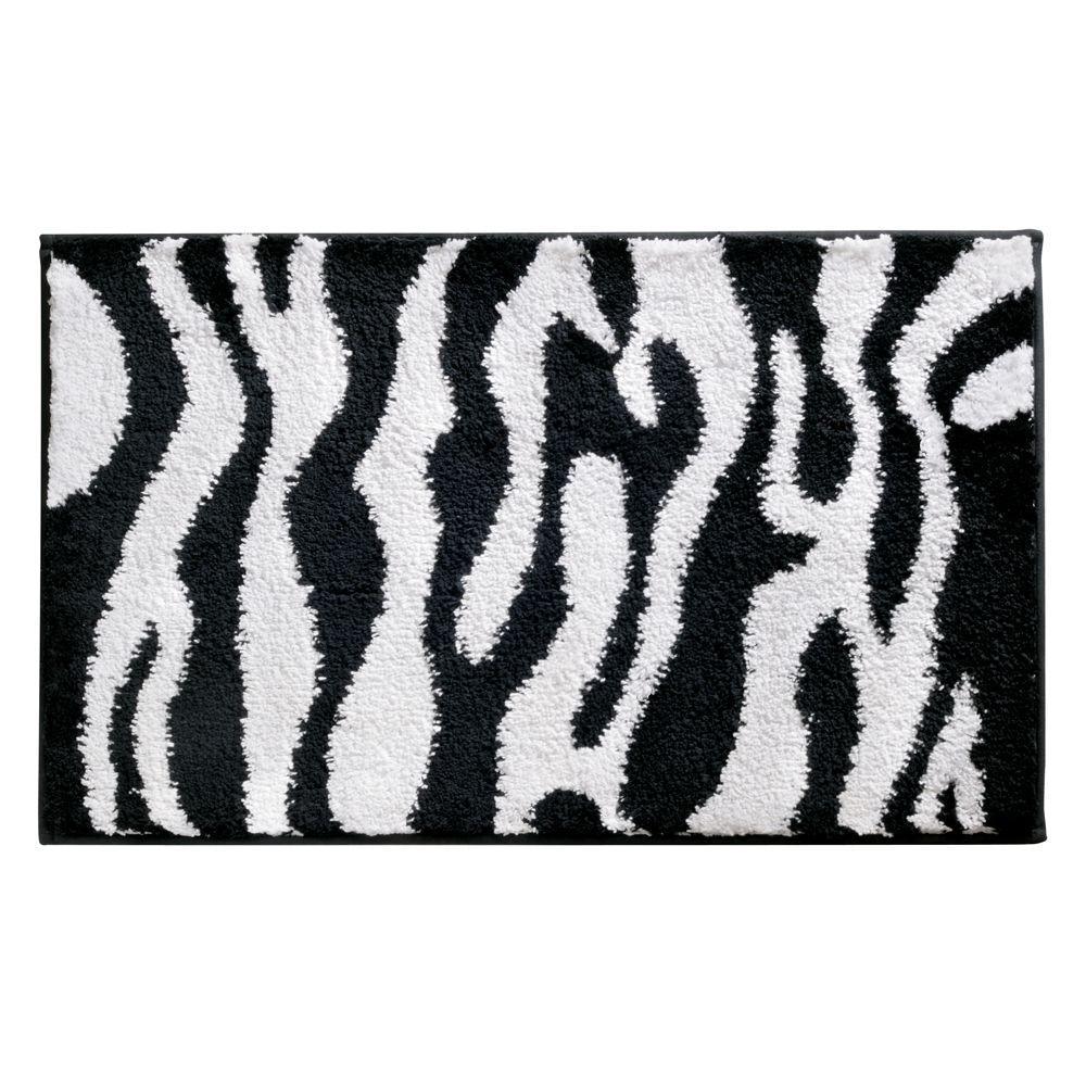 interDesign Zebra 34 inch x 21 inch Bath Rug in Black/White by interDesign
