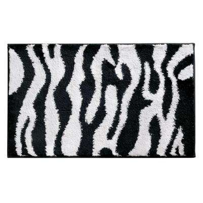 Zebra 34 in. x 21 in. Bath Rug in Black/White