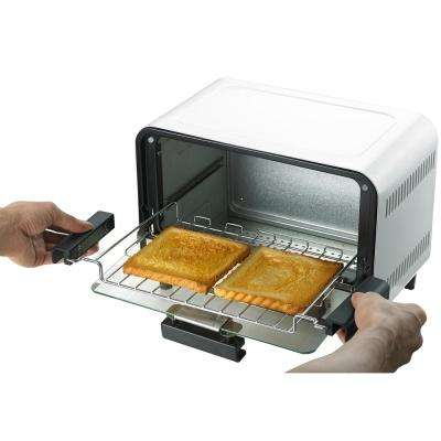 Easy Grasp 2-Slice White Countertop Toaster Oven