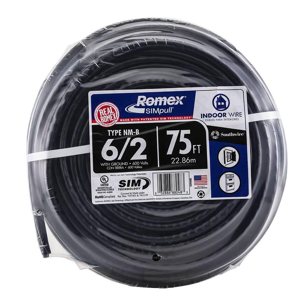 Southwire 75 ft. 6/2 Stranded Romex SIMpull CU NM-B W/G Wire ...