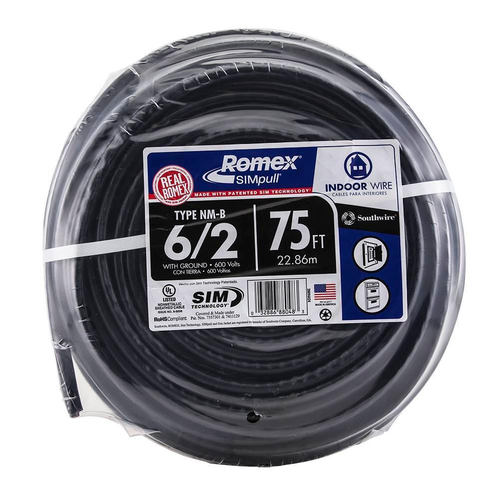75 ft. 6/2 Stranded Romex SIMpull CU NM-B W/G Wire