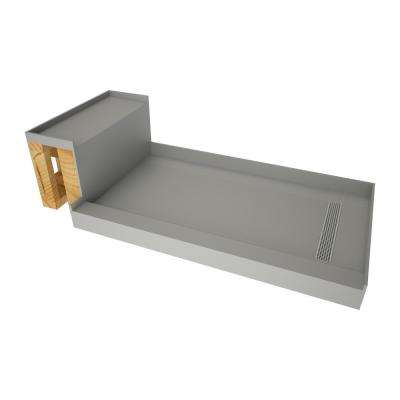 33 in. x 72 in. Single Threshold Shower Base in Gray and Bench Kit with Right Drain and Polished Chrome Trench Grate