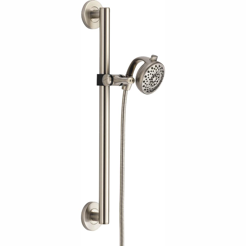 Delta Palm Contemporary Decorative ADA 4-Spray Wall Bar Shower Kit in Stainless