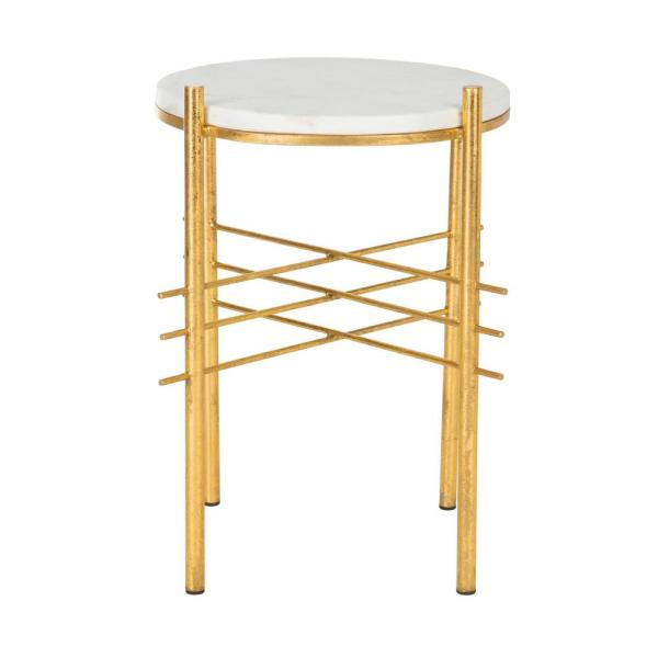 Jenesis White/Gold End Table