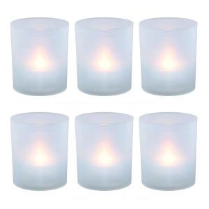 Flameless Votive Candles 2.25 in. Warm White Plastic Frosted Holders (6 Count)