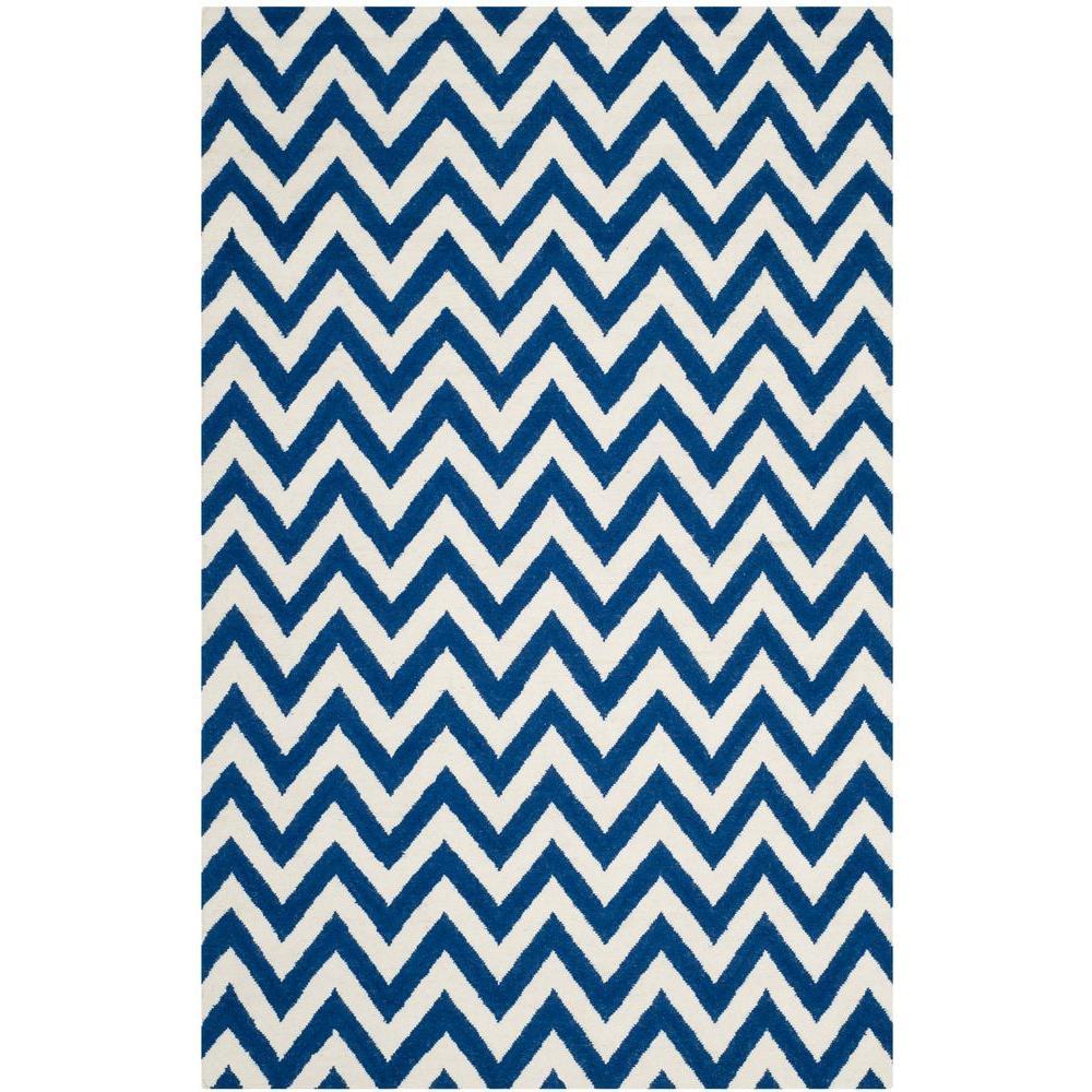 Dhurries Dark Blue/Ivory 5 ft. x 8 ft. Area Rug