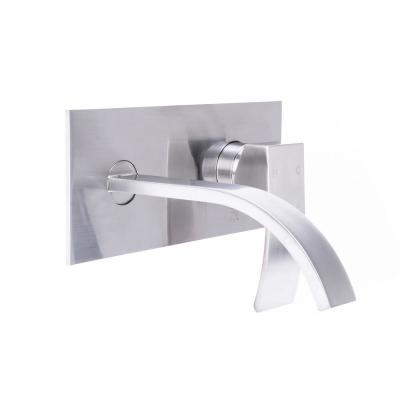 Single-Handle Modern Wall Mount Bathroom Faucet with Ribbon Spout in Brushed Nickel