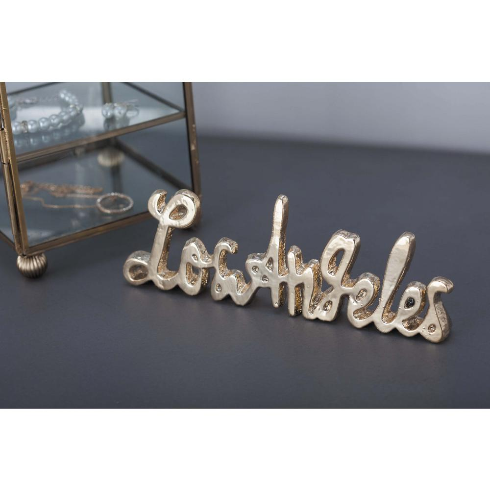 """8 in. x 3 in. Modern """"Los Angeles"""" Gold and Silver"""