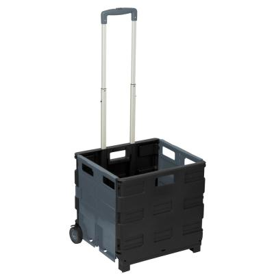 Neutral Plastic Rolling 2-Wheeled Crate Cart in Black and Grey